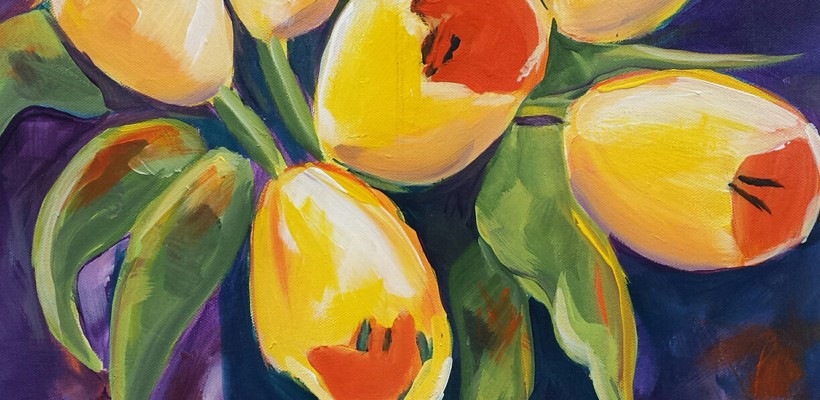 "Art Uncork'd Acrylic Canvas Painting ""Tulip"" with Sharon Smithem"